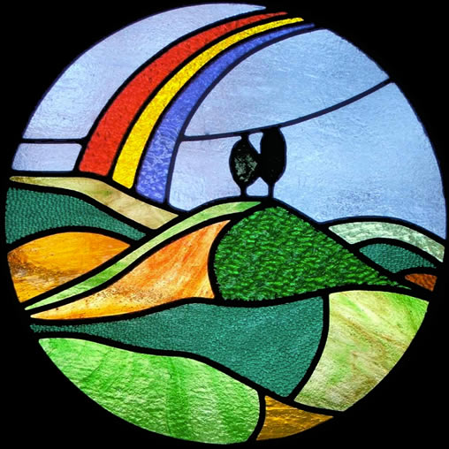 Colmer's Hill - glass panel by Jude Alderman