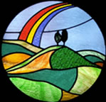 Bridport Stained Glass logo = Colmer's Hill panel