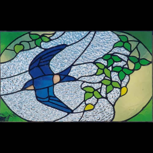 House martin design stained glass panel by Jude Alderman