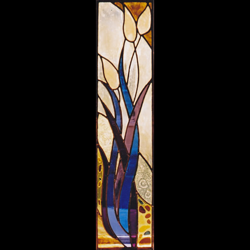 Stained glass panel with reeds and fossil design by Jude Alderman